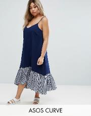 cami midi dress with dropped hem in gingham
