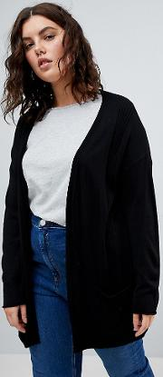 cardigan in fine knit with rib detail