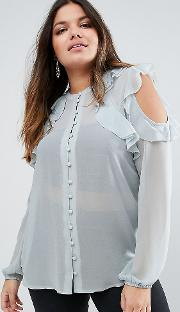 collarless ruffle cold shoulder blouse