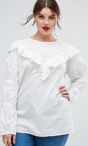 cotton top with frill detail & ruched sleeve