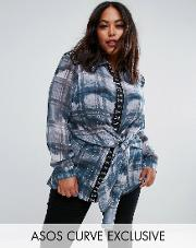 deconstructed blouse in watercolour check with hook & eye