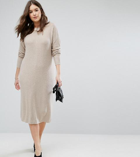 Asos Curve Eco Knitted Dress In Super Soft Yarn Obsessory
