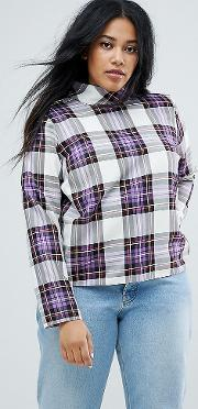 Funnel Neck Check Long Sleeve Top