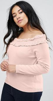 Jumper With Ruffle Off Shoulder