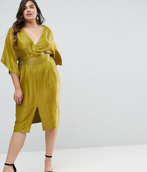 4271f2a98dab7 asos curve kimono sleeve midi dress with pleated waist