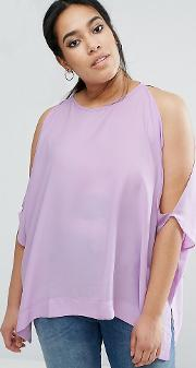 kimono tee with cold shoulder