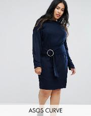 curve knitted dress with batwing and ring detail