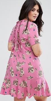 Lace Up Back Tea Dress In Pretty Floral
