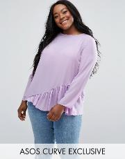 long sleeve blouse with asymmetric ruffle detail