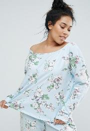 lounge pretty floral off shoulder sweat top