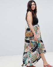 maxi skirt with high low hem in postcard print