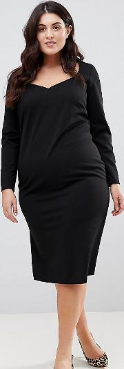 Midi V Neck Pencil Dress With Long Sleeves