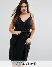 midi wrap dress in crepe with ring detail