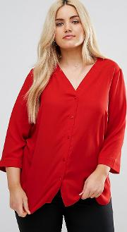 Neck Blouse With  Sleeve