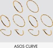 pack of 10 mixed texture rings
