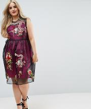 premium embroidered mesh midi skater dress with contrast lining