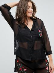 Premium Embroidered Sheer Shirt & Short Pyjama Set