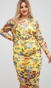 c6f03b11b7169 Printed Mesh Pencil Dress With Ruched Skirt. asos curve