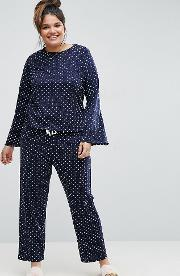 Spot Long Sleeve Top And  Pant Pyjama Set