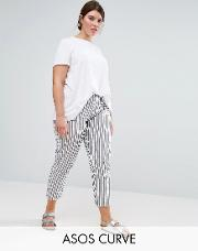 striped peg trousers in seersucker