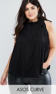swing top with ruched neck
