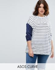 top in stripe with colourblock sleeve