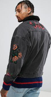 denim jacket with embroidery & borg collar in black wash