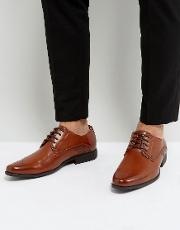 Derby Brogue Shoes In Tan Faux Leather With Embossed Panel