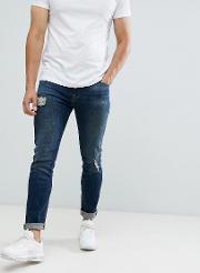 12.5oz Skinny Jeans With Rips And Abrasions Dark Wash