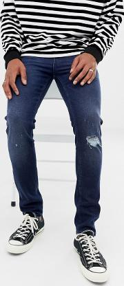 14oz Skinny Heavy Weight Jeans Dark Wash With Knee Rips