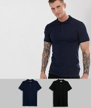 2 Pack Muscle Fit Jersey Polo Save