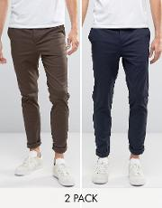 2 Pack Skinny Chinos Navy & Brown Save