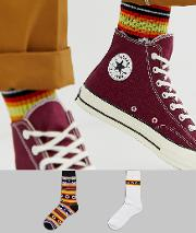 2 Pack Sports Socks With Aztec Stripes Save