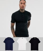 3 Pack Organic Muscle Fit Jersey Polo Save