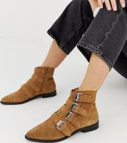 Alissa Leather Buckled Boots