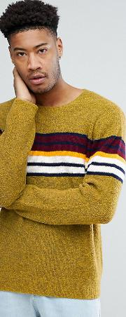 asos tall knitted jumper with colour block stripe
