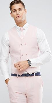 asos wedding skinny suit waistcoat  pink cross hatch with printed lining