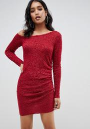 Asymmetric Ruched Side Knitted Mini Dress