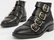 Avid Leather Studded Ankle Boots