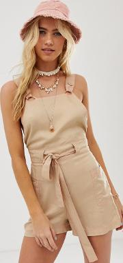 Beach Dungaree Playsuit With Neon Top Stitch