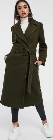Belted Coat With Topstitching Detail Khaki