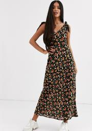 Bias Cut Button Front Maxi Dress With Wooden Rings Floral Print