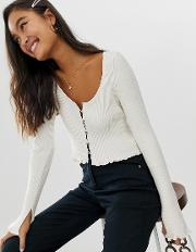Button Front Cardigan With Scoop Neck