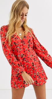 Button Front Swing Playsuit Red Ditsy Floral