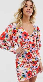 Button Through Mini Dress With Statement Sleeve Painted Floral Print