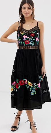 Cami Trapeze Embroidered Midi Dress
