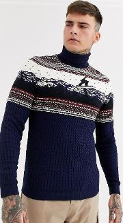 Christmas Jumper With Roll Neck