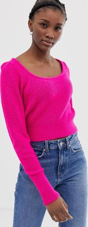 Chunky Scoop Neck Jumper With Full Sleeve