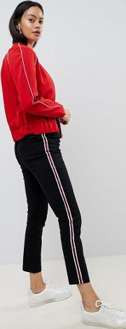 cigarette trousers in black with side stripe