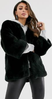 Collarless Faux Fur Jacket